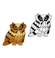 Cartoon isolated owl bird character vector image vector image