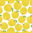 cartoon seamless pattern with yellow apples vector image vector image