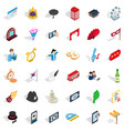 ceremonial icons set isometric style vector image