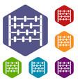 children abacus icons set hexagon vector image