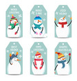 christmas labels collection with snowman isolated vector image vector image