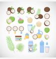 coconut flat icon set vector image vector image