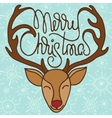 colorful xmas greeting card with head reindeer vector image