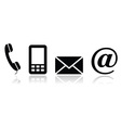 Contact black icons set - mobile phone email vector image vector image