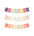 cute bunting flags with letters thank you vector image vector image