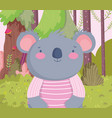 cute koala with striped shirt cartoon character vector image