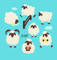 cute sheep jumping over the fence vector image vector image