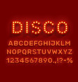 disco type font glowing light bulbs abc vector image vector image