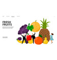 fresh fruits web page tiny people pineapple vector image vector image
