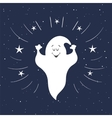 Funny ghost flying in the night sky Halloween vector image vector image