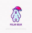 funny polar bear in christmas hat thin line icon vector image