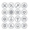 game line icons set rpg fantasy knight magic vector image vector image