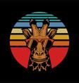 giraffe sunset vector image vector image
