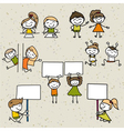 hand drawing cartoon happy kids vector image