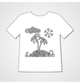 Hand drawn doodle pattern with tropical island vector image vector image