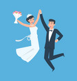 happy groom and bride cheerful young wife vector image