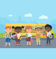 happy kids stand on road in front school bus vector image