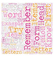Improve Your Memory text background wordcloud vector image vector image