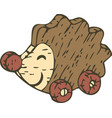 kid toy wooden hedgehog with wheels vector image