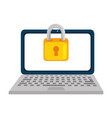 laptop computer with padlock vector image vector image