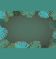 lot of cute green palm leaves with golden outline vector image
