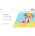 luxury tropical summertime vacation landing page vector image