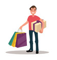 man is shopping man holding bags and gift box vector image