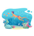 man snorkeling swims underwater summer sport vector image