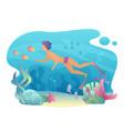 man snorkeling swims underwater summer sport vector image vector image
