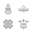 meddieval linear icons set vector image