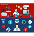 Medical laboratory 2 flat banners set vector image vector image