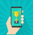 online award goal achievement mobile phone vector image vector image