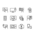 online training icon set vector image vector image
