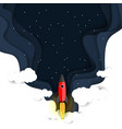 outer space flight paper cut vector image