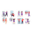 people looking at mirror reflection self vector image vector image