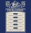 poster for a pub restaurant with live jazz music vector image vector image