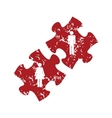 Red grunge love puzzle logo vector image