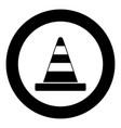 road cone icon black color in circle vector image vector image