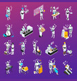 robot isolated professions icon set vector image