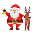 santa claus and reindeer icon vector image vector image