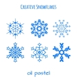 Set of snowflake hand drawn with oil pastels vector image vector image