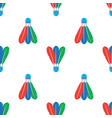 shuttlecock icon with colorful feathers seamless vector image vector image