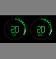 stopwatch timer digital green countdown vector image vector image