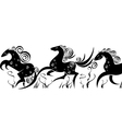 stylized silhouettes of running horses vector image