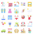 summer vacation related icon set 1 flat style vector image vector image