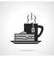 Tea and pie black icon vector image