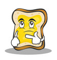 thinking face bread character cartoon vector image vector image