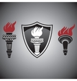 torch with fire signs and symbols vector image vector image