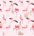 tropical flamingo bird seamless summer pattern vector image vector image