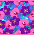 tropical pattern with orchids vector image vector image